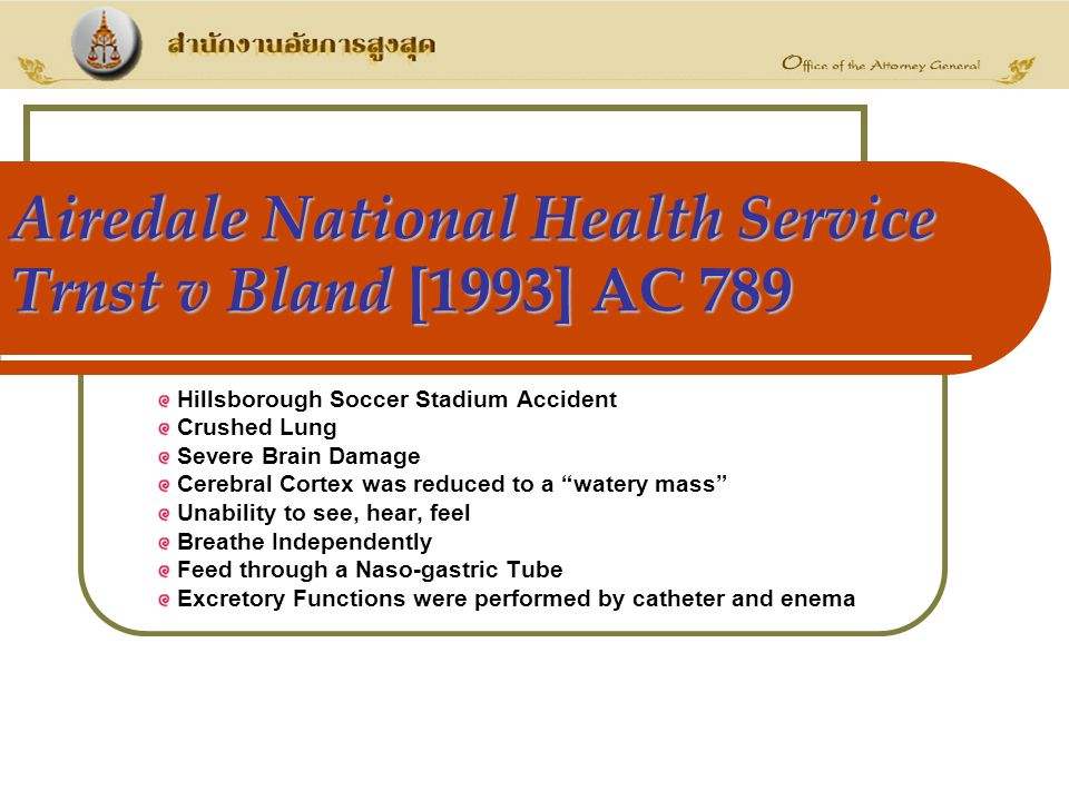 Airedale National Health Service Trnst v Bland [1993] AC 789